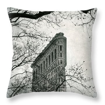 Throw Pillow featuring the photograph Flatiron Vintage by Jessica Jenney