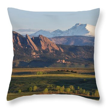 Flatirons And Longs Peak Throw Pillow by Aaron Spong