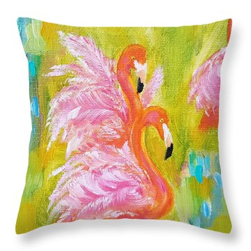 Throw Pillow featuring the painting Flaunting Feathers by Judith Rhue