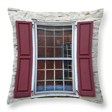 Throw Pillow featuring the photograph Flemington, Nj - Side Shop Window by Frank Romeo