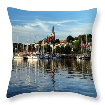 Flensburg Marina Throw Pillow by John Bushnell