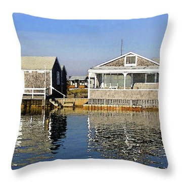 Throw Pillow featuring the photograph Fletchers Camp And The Little House Sandy Neck by Charles Harden