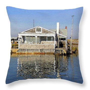Fletchers Camp And The Little House Sandy Neck Throw Pillow