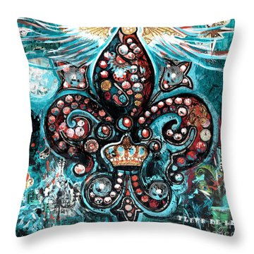 Throw Pillow featuring the painting Fleur De Lis Steampunk Style by Genevieve Esson