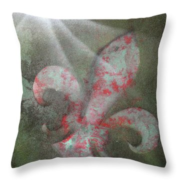 Throw Pillow featuring the painting Fleur Di Lis by Tbone Oliver
