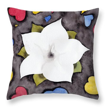 Throw Pillow featuring the painting Fleur Et Coeurs by Marc Philippe Joly
