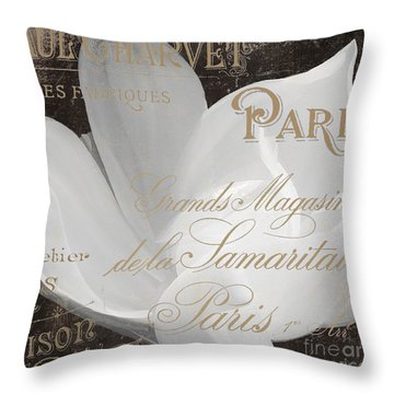 Fleurs Blanc Magnolia Throw Pillow