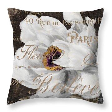 Fleurs Blanc Throw Pillow