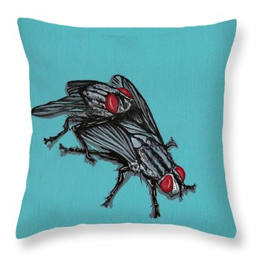Throw Pillow featuring the painting Flies by Jude Labuszewski