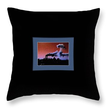 Flight 175 Mushroom Cloud Framed Example Throw Pillow