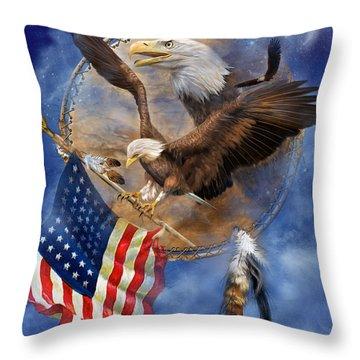 Flight For Freedom Throw Pillow by Carol Cavalaris