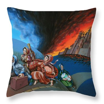Flight Of Lot Out From Sodom Throw Pillow