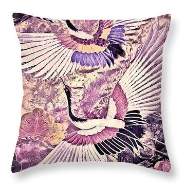 Flight Of Lovers - Kimono Series Throw Pillow