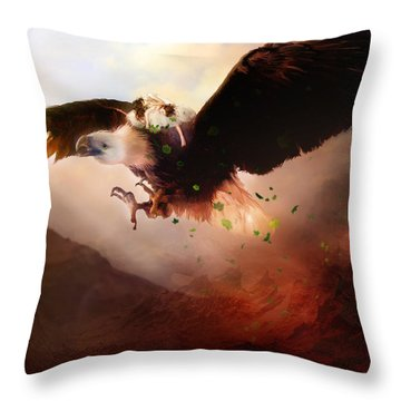 Flight Of The Eagle Throw Pillow by Mary Hood
