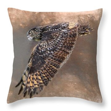 Flight Of The Eagle Owl Throw Pillow
