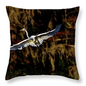 Throw Pillow featuring the photograph Flight Of The Egret by DJA Images