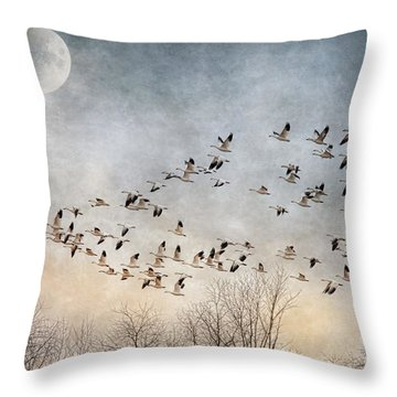 Flight Of The Snow Geese Throw Pillow