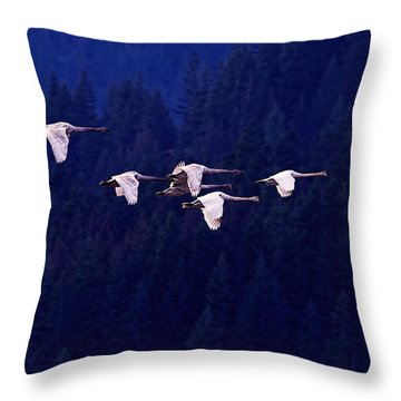 Flight Of The Swans Throw Pillow by Sharon Talson