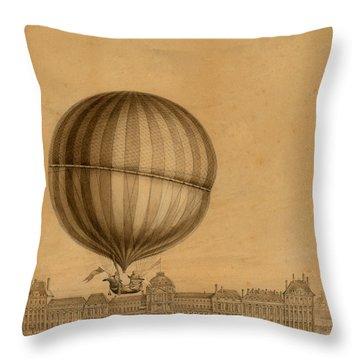 Flight Over Paris Throw Pillow