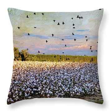 Throw Pillow featuring the photograph Flight Over The Cotton by Jan Amiss Photography