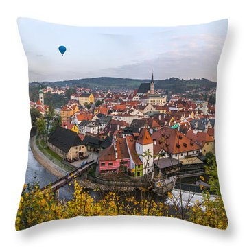 Flight Over The Medieval Town Throw Pillow