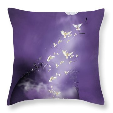 Throw Pillow featuring the mixed media Flight To Freedom by Jim  Hatch