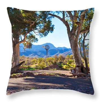 Flinders Ranges Windmill Throw Pillow by Bill  Robinson
