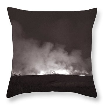 Flint Hills Fire In Monochrome Throw Pillow