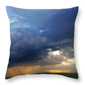 Flint Hills Storm Panorama 2 Throw Pillow