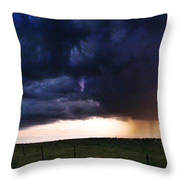 Flint Hills Storm Panorama  Throw Pillow