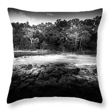 Flint River Rapids B/w Throw Pillow