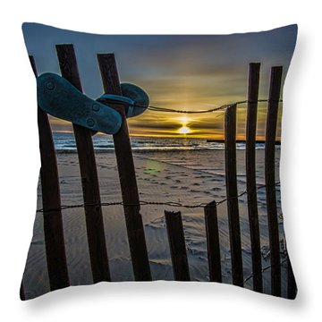 Flip Flops On A Beach At Sun Rise Throw Pillow