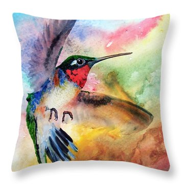 Da198 Flit The Hummingbird By Daniel Adams Throw Pillow