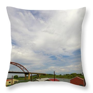 Floating Boat House Living By Sauvie Island Throw Pillow by David Gn