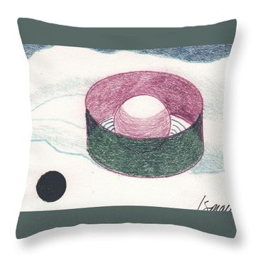 Throw Pillow featuring the drawing Floating Can With Black Sun by Rod Ismay