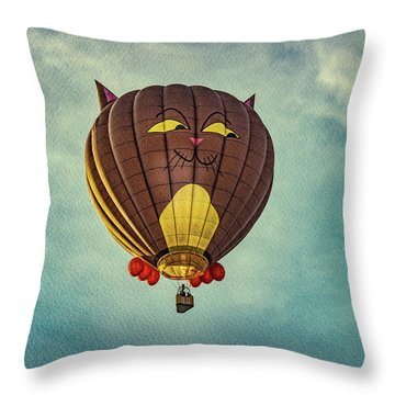 Floating Cat - Hot Air Balloon Throw Pillow by Bob Orsillo