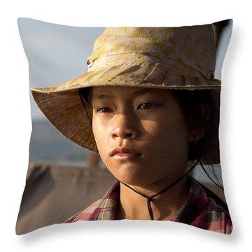 Floating Drink Seller Girl On The Tonle  Sap Lake In Cambodia Throw Pillow by Jason Rosette