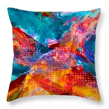 Throw Pillow featuring the painting Floating Feather Swirls by Claire Bull