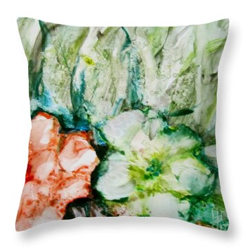 Floating Flowers 3 Throw Pillow by Laurie Morgan