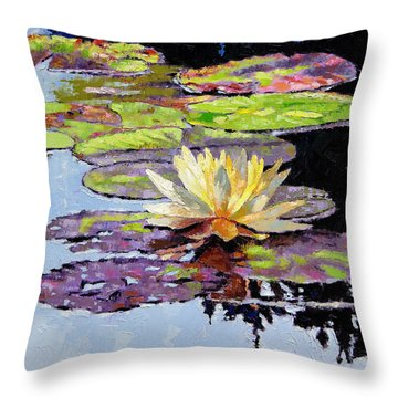 Floating Gold Throw Pillow by John Lautermilch