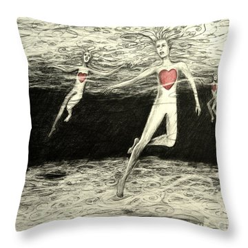 Floating Hearts #3 Throw Pillow