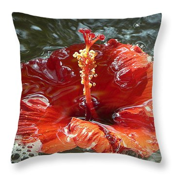 Floating Hibiscus Throw Pillow