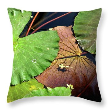 Floating Lily Pads Throw Pillow