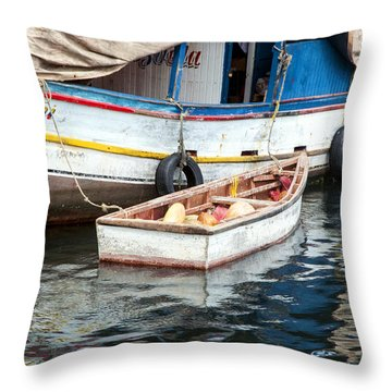 Floating Market Throw Pillow by Allen Carroll