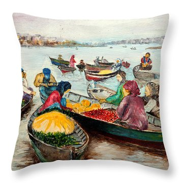 Floating Market Throw Pillow