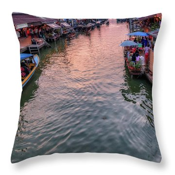 Floating Market Sunset Throw Pillow