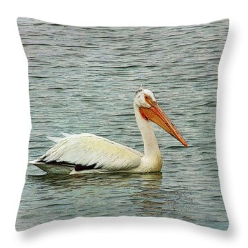 Floating Pelican Throw Pillow by Krista-