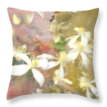 Floating Petals Throw Pillow by Colleen Taylor