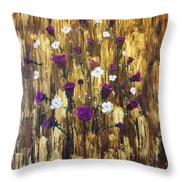Floating Royal Roses Throw Pillow