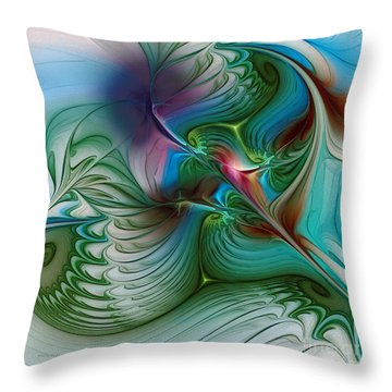 Throw Pillow featuring the digital art Floating Through The Abyss by Karin Kuhlmann